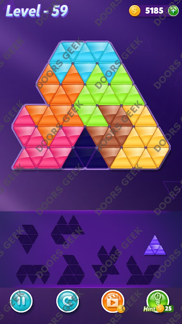 Block! Triangle Puzzle 7 Mania Level 59 Solution, Cheats, Walkthrough for Android, iPhone, iPad and iPod