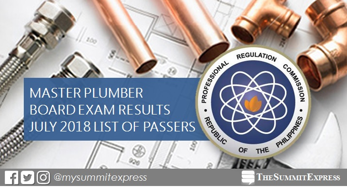 FULL RESULTS: July 2018 Master Plumber board exam list of passers, top 10