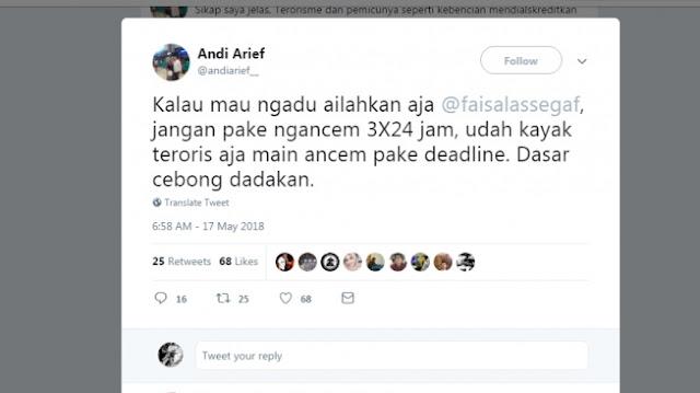 Andi Arief Nantangin Faizal Assegaf untuk Laporkan Dirinya