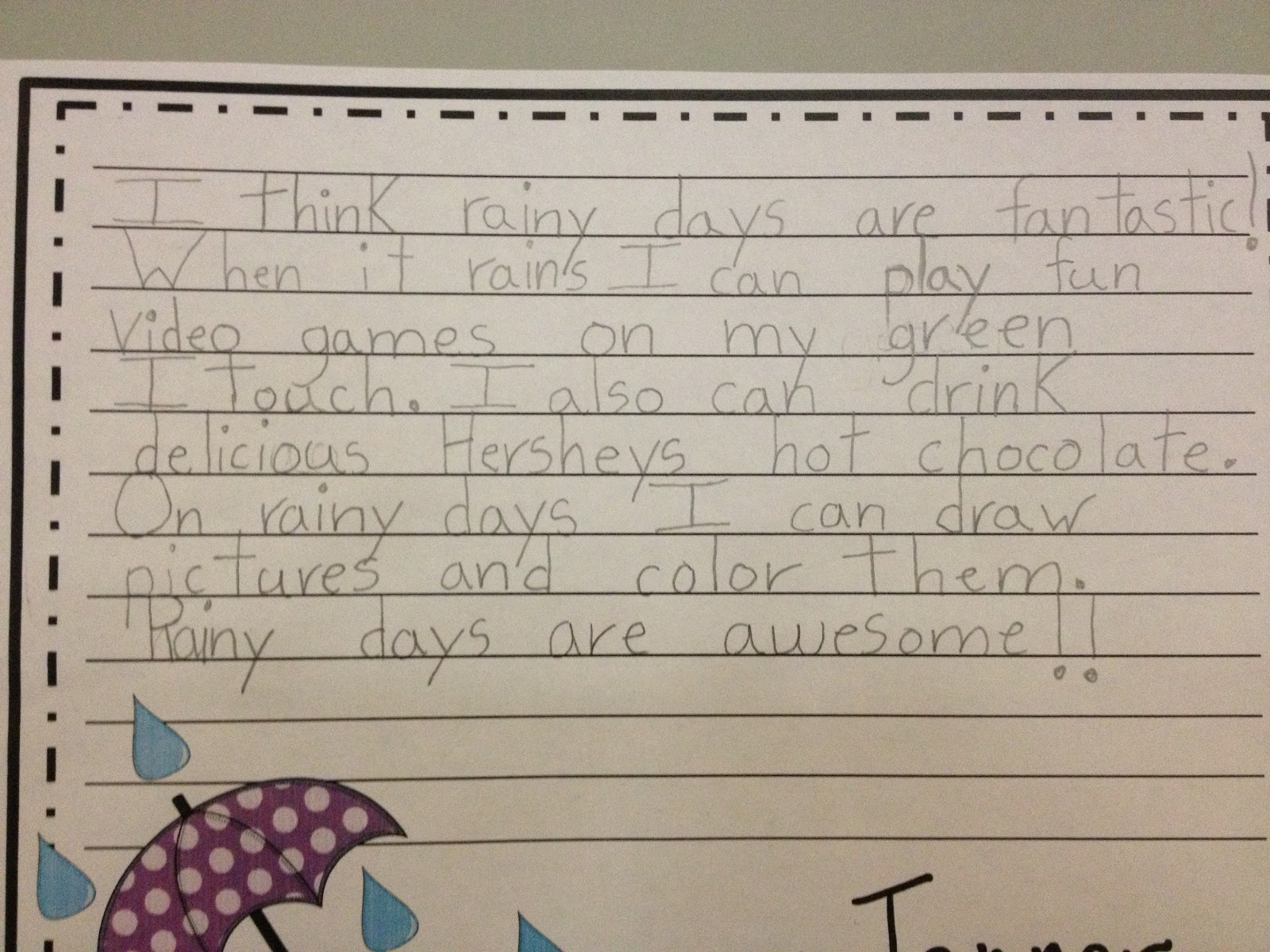 A rainy day essay for kids