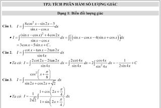 Bài tập tích phân hàm lượng giác nâng cao