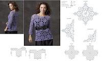DIY Moda Feminina  Como Fazer Uma Blusa Com Motivos de Crochê Com Gráfico