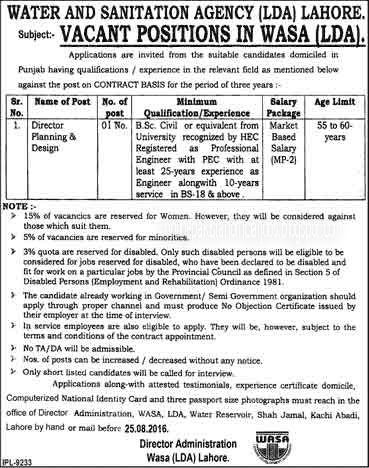 Jobs in Water and Sanitation Agency LDA Lahore 2016