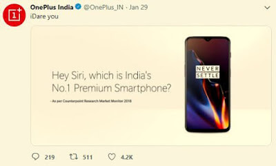 Hey Siri, which is India's No. 1 Premium Smart phone ? One Plus trolled Apple