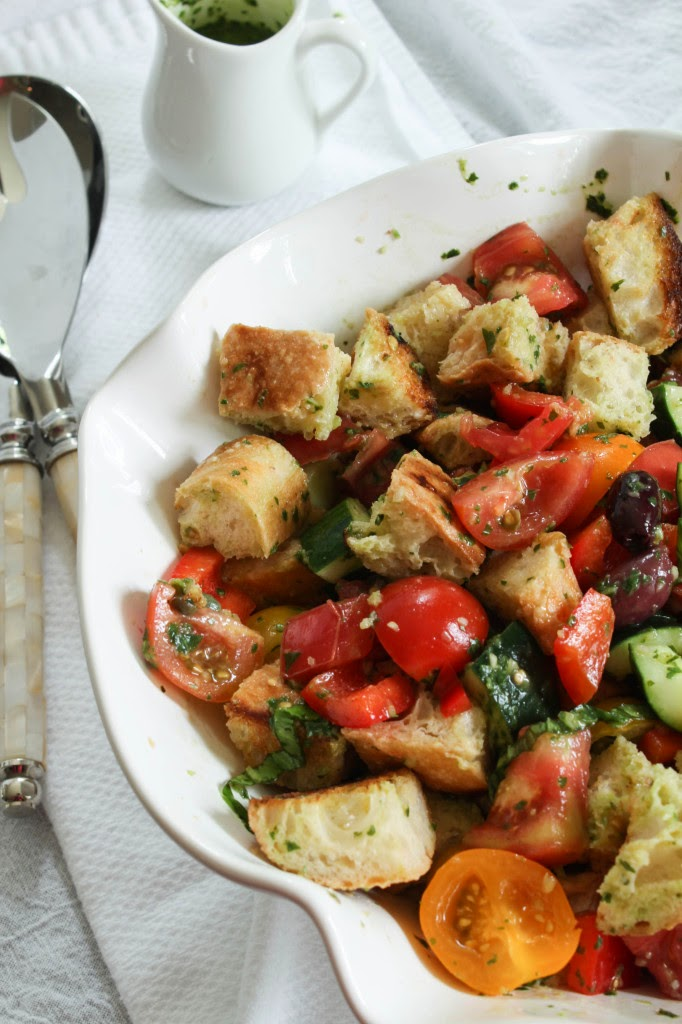 Summer Panzanella with Basil Vinaigrette