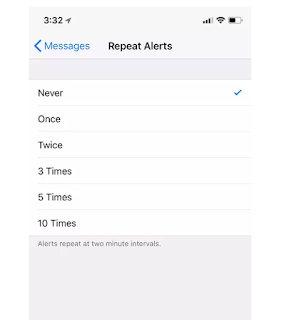 Set up iMessage no Repeat Alert