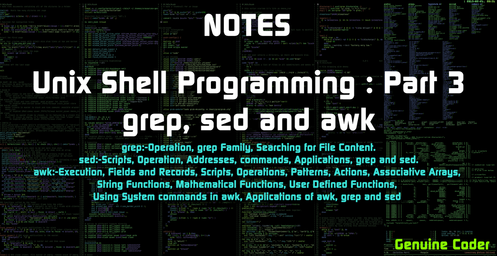 unix shell programming : grep,sed and awk