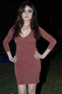 Sony Charista in a Dark Brown Deep neck Plunging Neckline Short Dress and Black Heels at Premikudu Movie Audio Launch