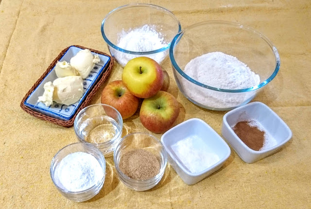 ingredients for Cinnamon and Apple Pie with Lemon and Vanilla Custard