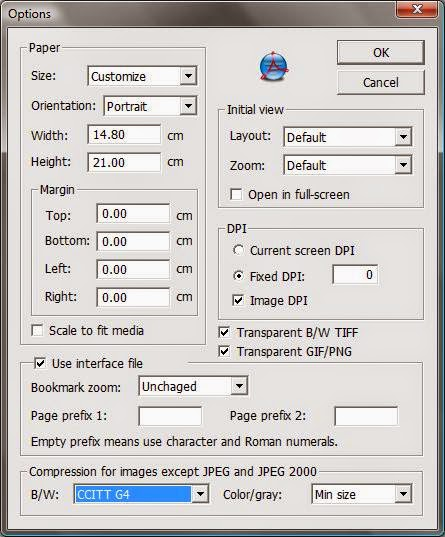 FreePic2Pdf options dialog screenshot