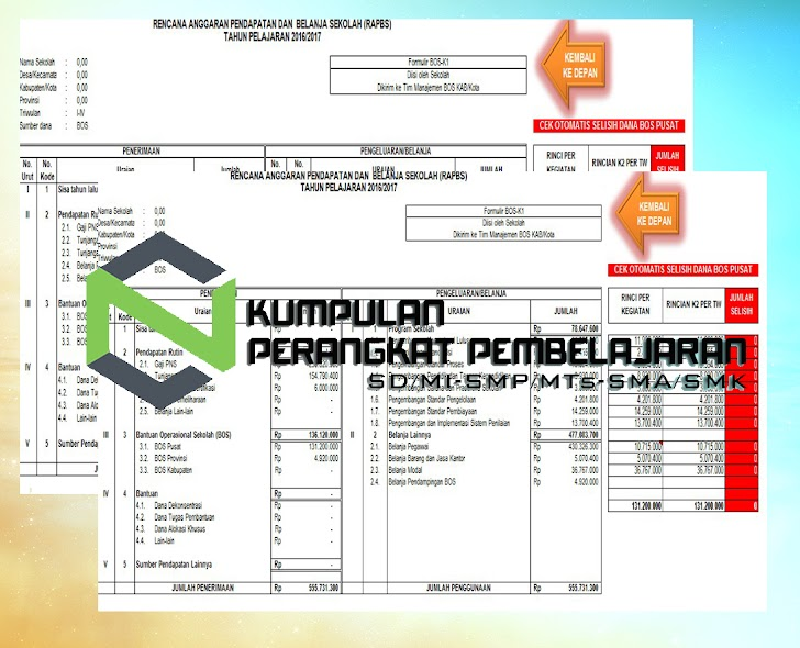Aplikasi RAPBS Excel Otomatis Gratis Untuk SD SMP SMA SMK Tahun 2017