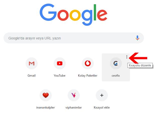 Bağlantıları Google Chrome'dan kaldırma - www.ceofix.com