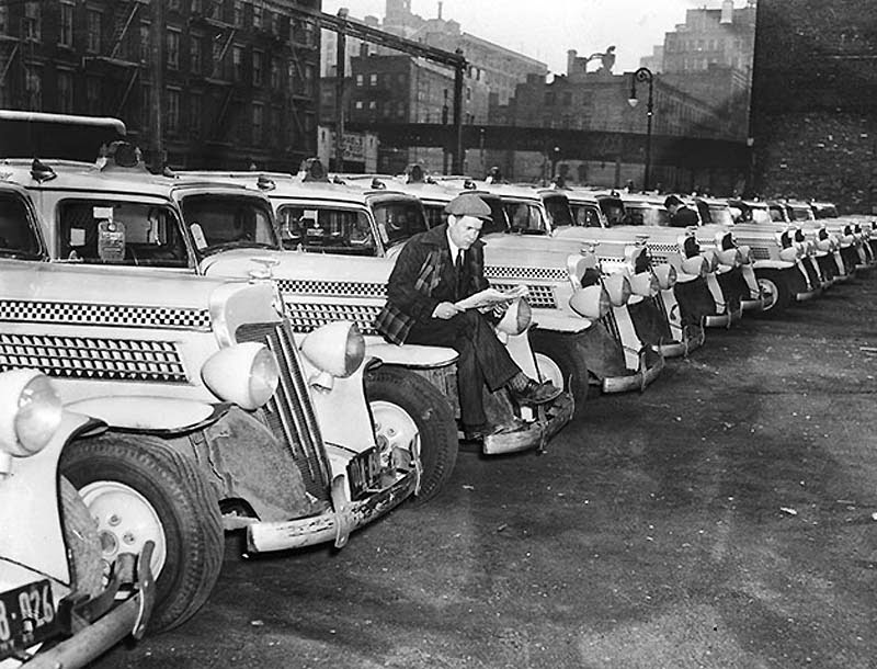 New York Checkered Taxicab Workers Strike 1940 Vintage