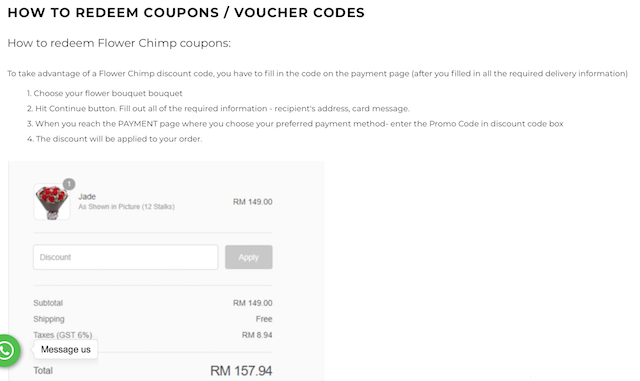 Here's a guide on how to redeem your voucher code on Flower Chimp