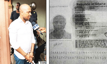 evans kidnapper Ghanaian passport bio data page