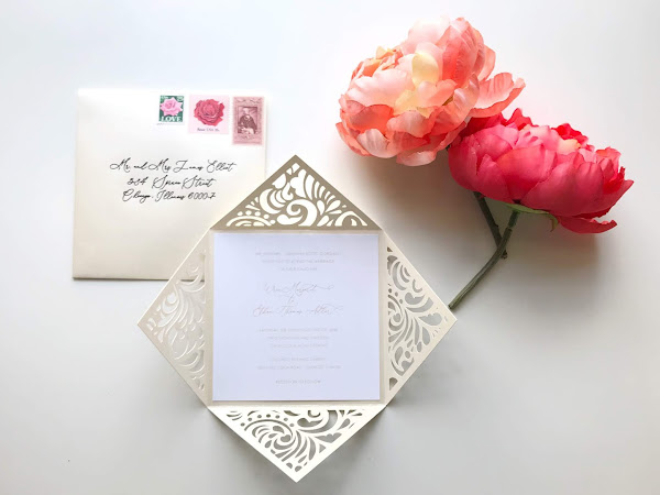 Ivory and White Die Cut Wedding Invitation