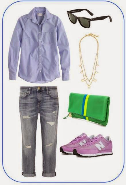 J.Crew shirt, Current Elliot jeans, Ray Ban sunglasses, Clare Vivier clutch, New Balance shoes
