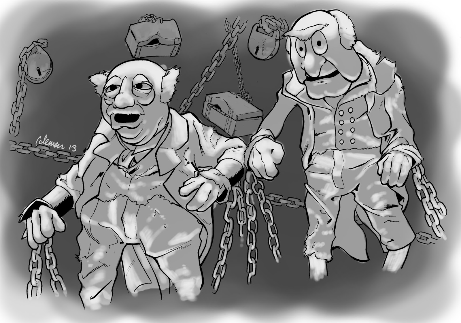 The Muppet Christmas Carol Jacob Marley.Swingin The Lead Advent Sketching 2013 Day Eight