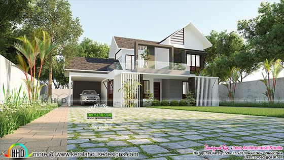 Slop roof 4 BHK house plan 2550 sq-ft