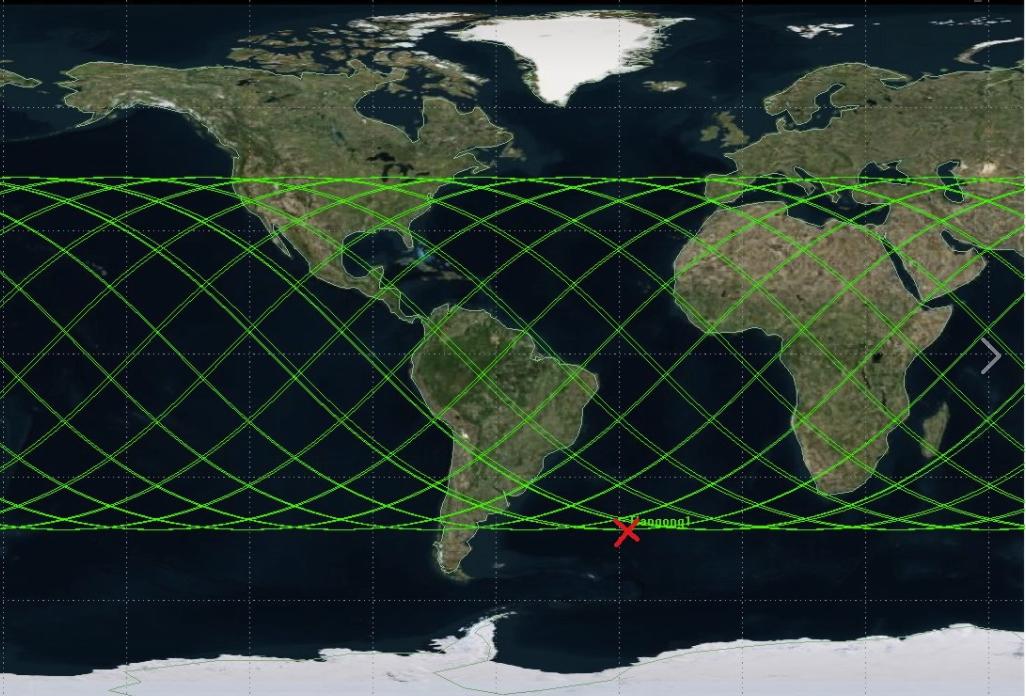 科技部於31日下午 3 點發文表示,紅色X記號為最新的墜落地點,位在非洲與南美洲之間的大西洋。