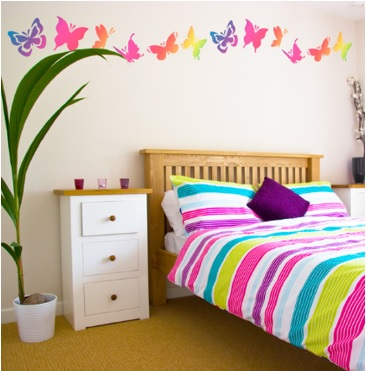 decoración de dormitorio con mariposas