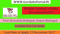 Wildlife Institute of India Recruitment 2017– 2559 Research Biologist, Senior Biologist