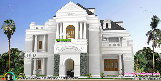 Long pillar Colonial style house rendering