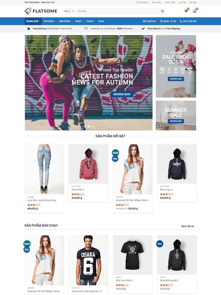 Theme blogspot bán hàng Flatsome Mega Shop
