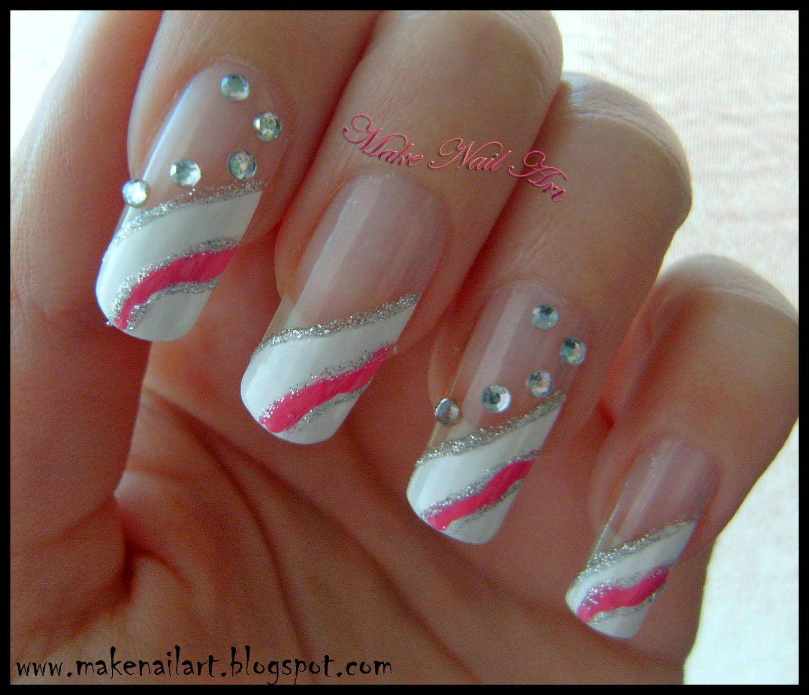 Make Nail Art: White And Pink Prom Nails Nail Art Tutorial