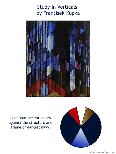 Study in Verticals by Frantisek Kupka with style guidelines and color palette