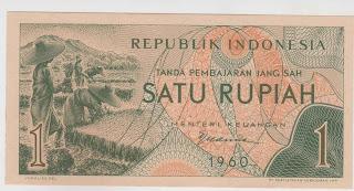 1 rupiah seri sandang pangan tahun 1960