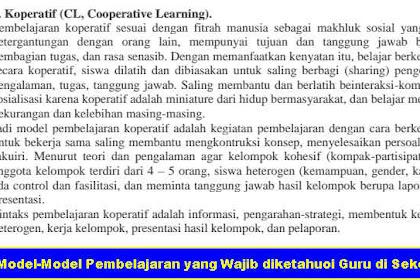 Model-Model Pembelajaran yang Wajib diketahui Guru di Sekolah