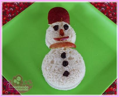 Comida Divertida de Natal sanduíche de boneco de neve
