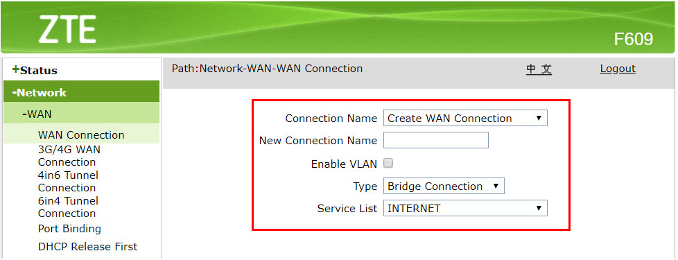 Mengaktifkan mode bridge connection modem ZTE F609