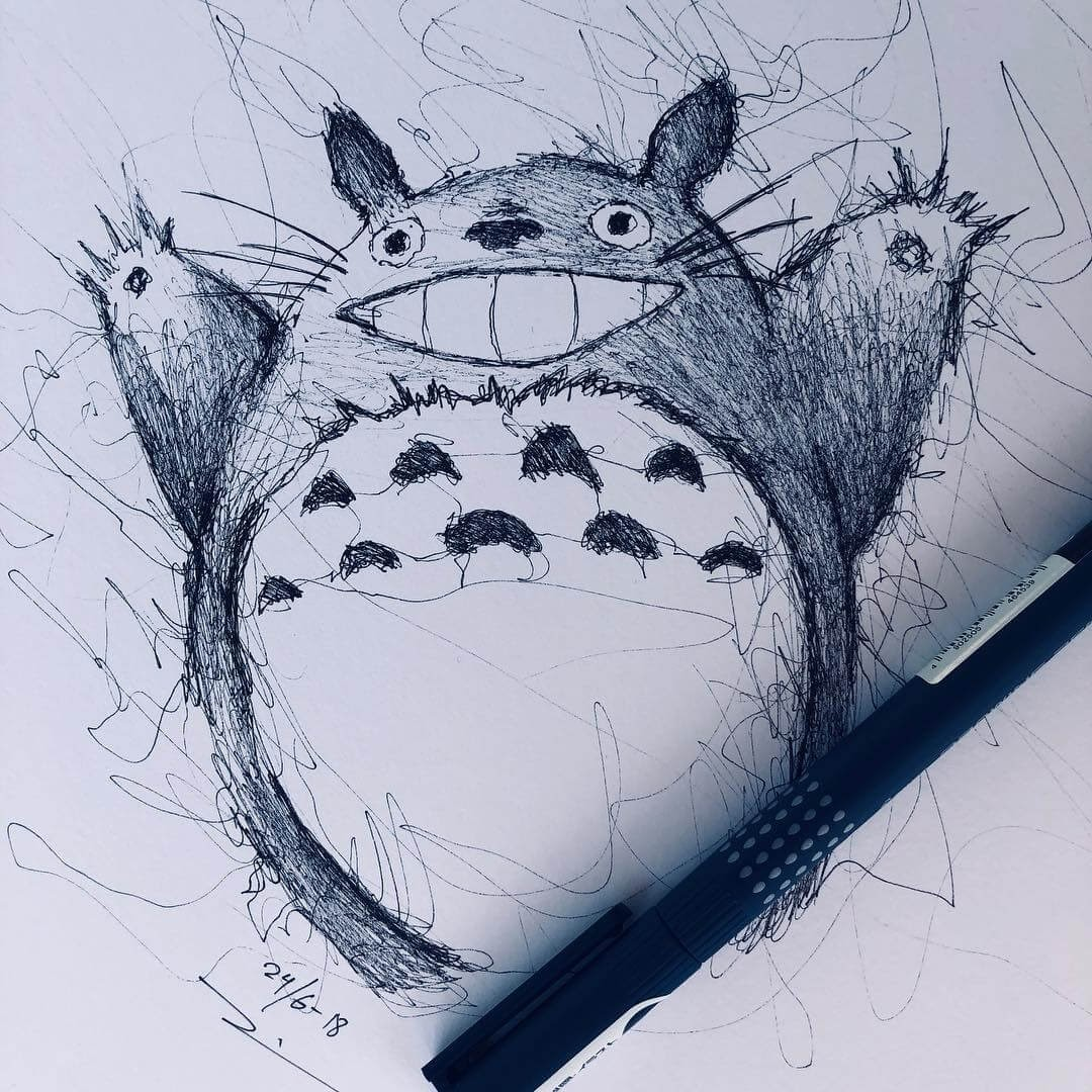 01-Totoro-Jimmy-Mätlik-Fantasy-Animal-drawings-form-the-Movies-www-designstack-co