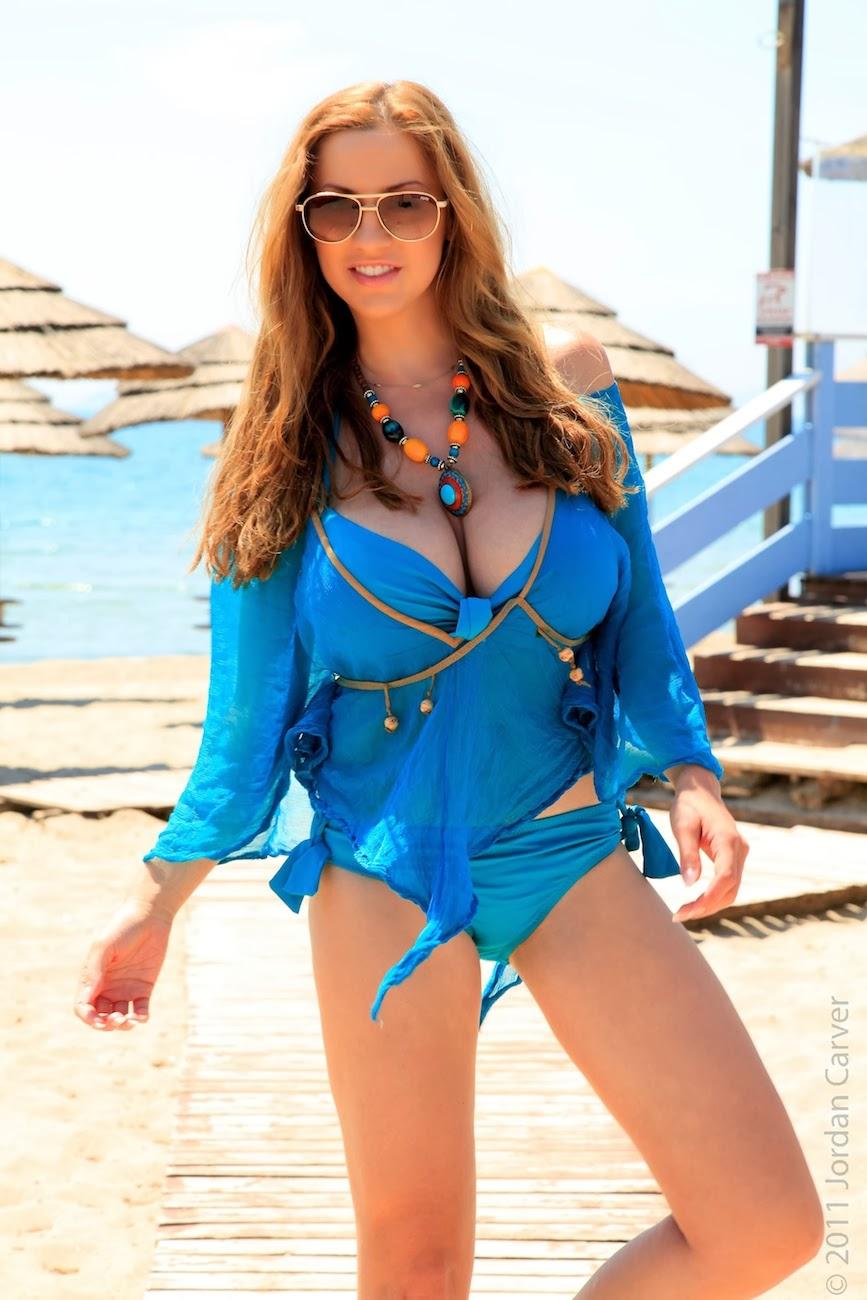 Jordan Carver Goegeous Hot Boobs Expose In Blue Lingerie -6853