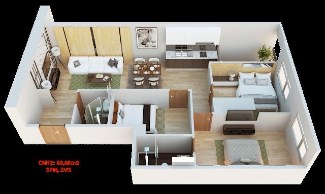 Thiết kế căn hộ 12 tháp doanh nhân