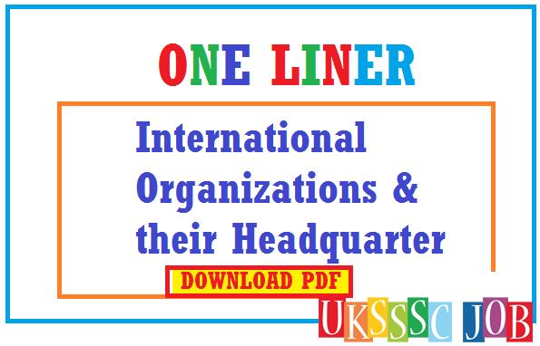 Important International Organizations & their Headquarter - UKSSSC
