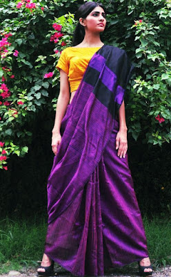 This silk saree blouse design is simple but its make your saree look very comfortable and dashing.