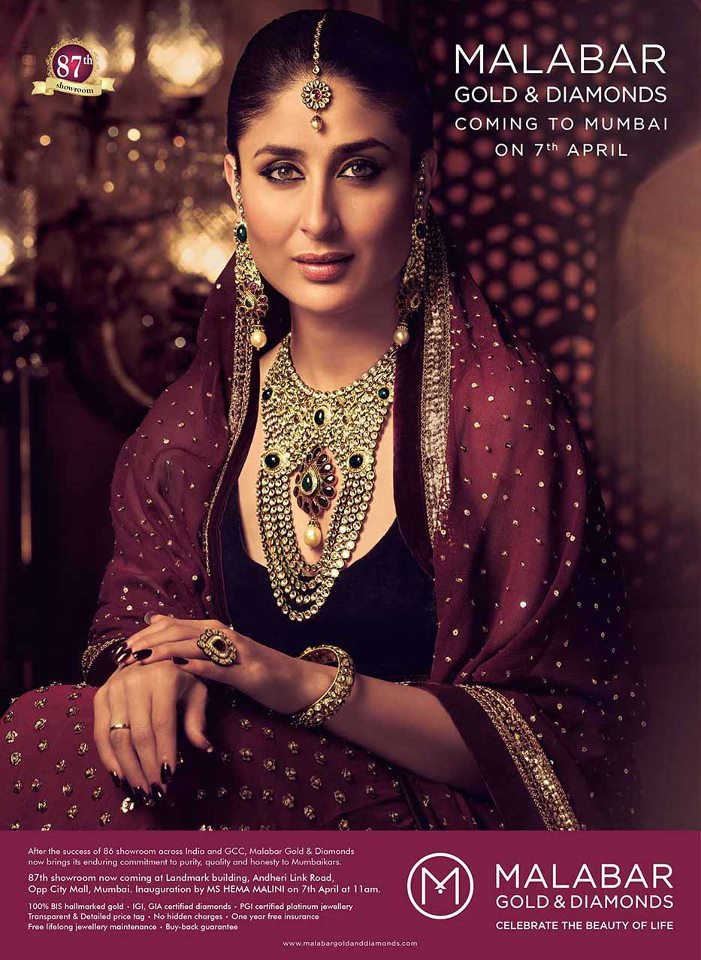 Bollywood Actress Kareena Kapoor In Malabar Gold and Diamonds Ad