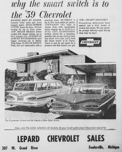 The Fowlerville Observer: 1959 Lepard Chevrolet Ad