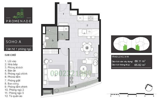 Tháp Pormenade căn hộ City Garden - 1 Phòng ngủ A