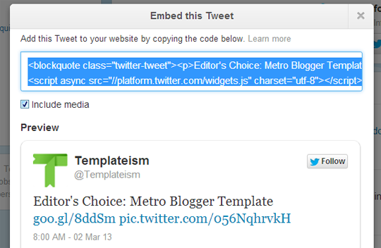 How to embed twitter tweets into your posts in blogger blog my after copying the code go to blogger create a new post select html tab and paste the code where you would like to see the tweet to appear pronofoot35fo Choice Image