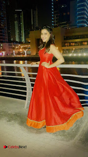 Actress Mannara Chopra Pictures in Red Dress at Dubai 0004