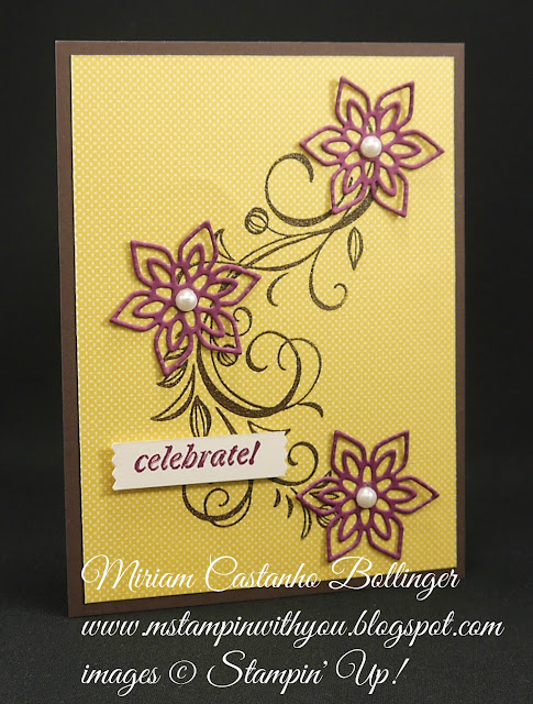 Miriam Castanho-Bollinger, #mstampingiwithyou, stampin up, demostrator, ppa, wedding card, park lane dsp, falling flowers stamp set, and many more stamp set, heat embossing, flourish thinlits, big shot, su