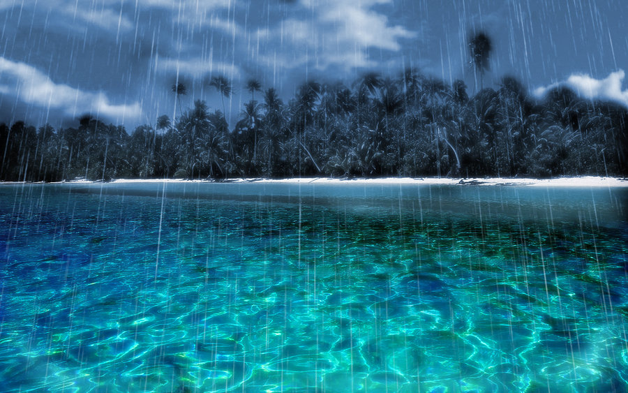 Image result for raining on an island