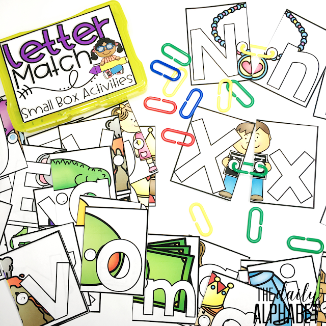 Easy to prep activity where students will begin practicing letter recognition and matching in no time! I love that it also sneaks in fine motor skills as well!
