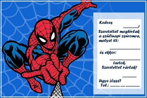 pókemberes szülinapi meghívó Zsúrda: Pókember születésnapi szett pókemberes szülinapi meghívó