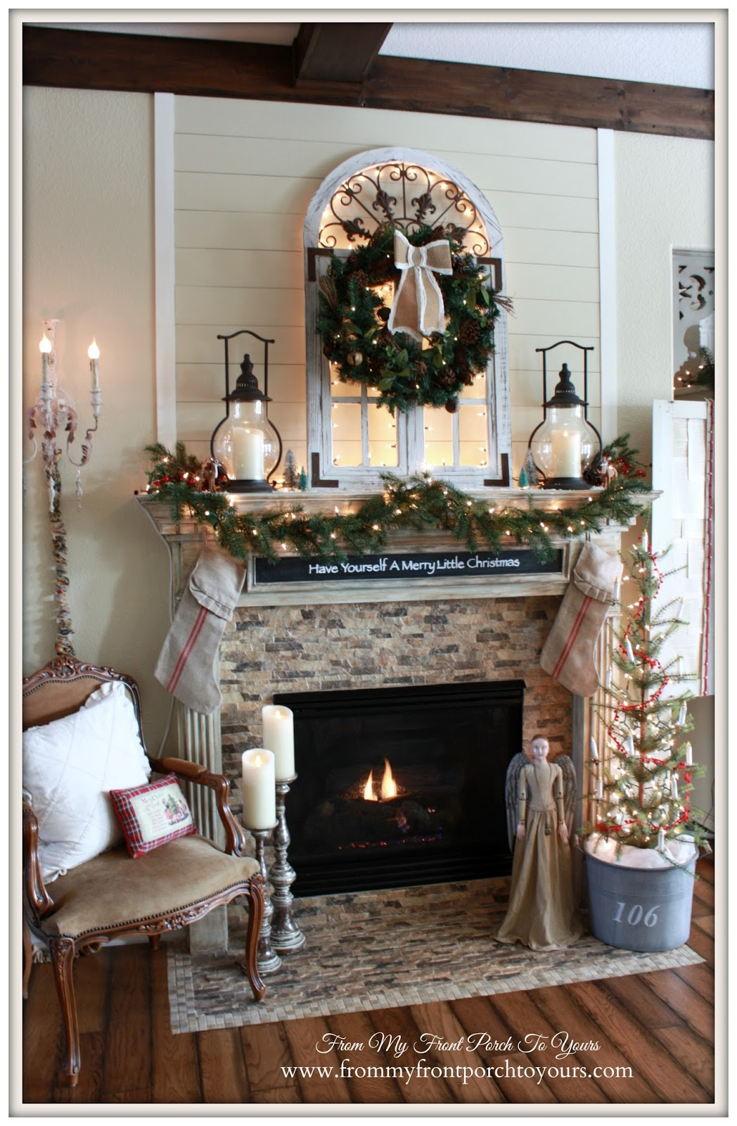 Farmhouse Rustic Fireplace Mantel Decor From My Front Porch To Yours Cozy Farmhouse Christmas