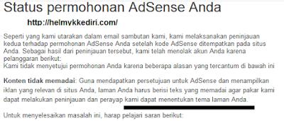 mudah diterima akun google adsense